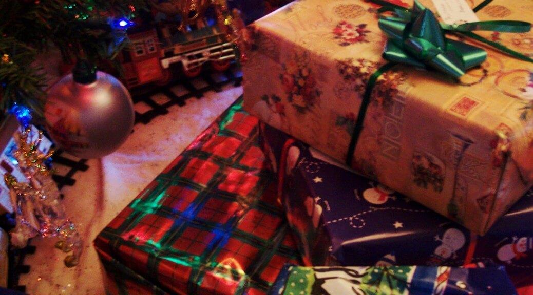 Wrapping presents at Christmas